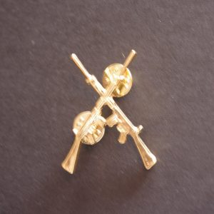 Gold Coloured Crossed SLR Lapel Pin